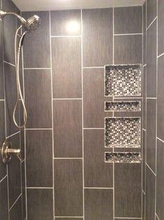 First-Class Bathroom Shower Remodel Grey Tiles Adorable Bathroom Shower Remodel Grey Tiles Ideas Shower Niche, Master Shower, Walk In Shower, Master Bath, Half Bathroom Remodel, Shower Remodel, Bath Remodel, Vertical Shower Tile, Shower Tile Patterns