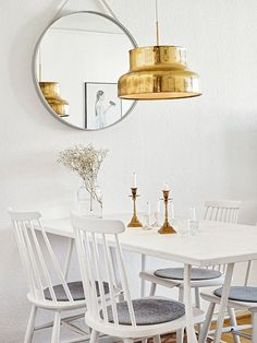 white and gold dining nook