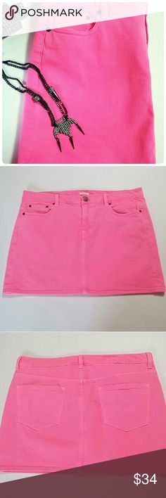"""J Crew Neon Pink Denim Jean Mini Skirt Sz 33 12 14 Condition - bought and washed once. Had small mark (see picture 4 and marker pointing to dots) on bottom edge. Brand: J.Crew Women's Size: 33 / approximately Size 12 14 Color: Neon Pink Style: 78210 - Garment Dyed Mini Skirt 5 Pocket Styling Belt Loops Cotton Stretch Blend Machine Wash  Measurements 37"""" Waist - doubled 42"""" Hip - doubled 15"""" Total Length J. Crew Skirts Mini"""