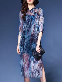 Multicolor Collar Bamboos Print Split Shift Dress -SheIn(abaday)