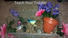 Spring Sensory Bin composed of only dollar store items