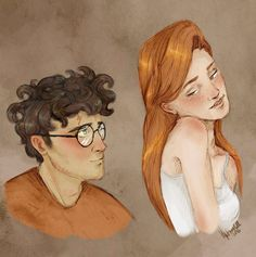 Harry and Ginny by upthehillart on DeviantArt Harry Potter Couples, Harry Potter Ginny Weasley, Harry And Ginny, Harry Potter Artwork, Harry Potter Pictures, Harry Potter Universal, Desenhos Harry Potter, Hogwarts, Beautiful Pictures