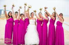Hot Pink Bridal Party Beach Wedding {Sands Atlantic Beach, Ron Soliman Photojournalism} - mazelmoments.com