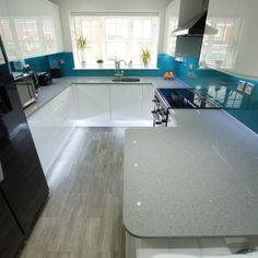 grigio medio stella quartz worktops in white kitchen Kitchen Designs, Kitchen Ideas, B&q Kitchens, White Gloss Kitchen, Stevenage, Small B, Rainbow Glass, Kitchen Doors, Work Tops