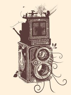 Retro Rolleiflex – Evolution of Photography – Vintage Metal Print with magnetic mounting system included.
