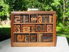 Antique Letterpress Wood Type Numbers Graphic Design Mixed Fonts In Type Tray