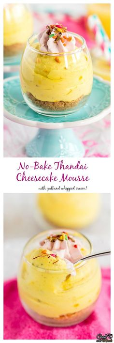 No-Bake Thandai Cheesecake Mousse with Gulkand Whipped Cream makes a great dessert for Holi! #indian #dessert #holi Find the recipe on www.cookwithmanali.com