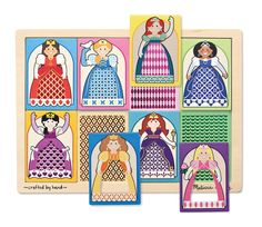 Peek-Through Puzzle Princesses - 8 Pieces 2nd Birthday Gifts, Melissa & Doug, Wooden Puzzles, Kids Rugs, Princesses, Comics, Holiday Decor, Pattern, Crafts