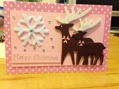 Pink reindeer card Christmas girly