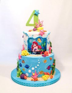 Little Mermaid Cake on Cake Central<br> Little Mermaid Birthday Cake, Little Mermaid Cakes, Little Mermaid Parties, The Little Mermaid, Sirenita Cake, Ariel Cake, Mermaid Party Favors, 4th Birthday Cakes, Sea Cakes