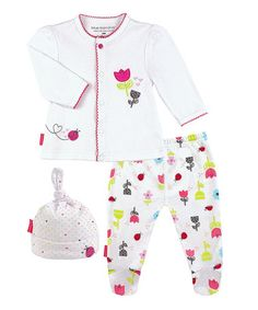Look what I found on #zulily! White Take Me Home Cardigan Set by Kushies #zulilyfinds