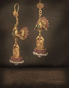Heritage for today: Delicate rubies, pearls and emeralds to create an exquisite pair of antique-looking jhumkis India Jewelry, Temple Jewellery, Resin Jewellery, Amrapali Jewellery, Jewellery Earrings, Diamond Jewellery, Silver Jewellery, Jewelry Shop, Gold Earrings Designs