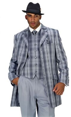 Milano Moda Gray Plaid Vested Urban Men Suits 28189V