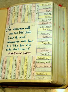 The best way to mark your Bible! Use colored pencils to mark your scripture in the corresponding color and place a small colored dot (available at office supply stores) folded over the page lining up with the subject.   So organized and so pretty!