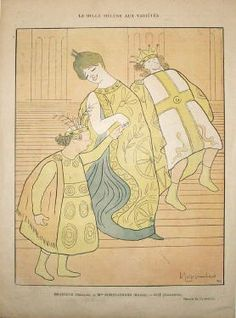Cappiello Original Vintage Poster from the Le Rire magazine La Belle Helene Aux Varietes from 1888 France.