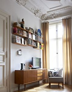 Amazing light, console and shelving via: Ray and Charles Eames