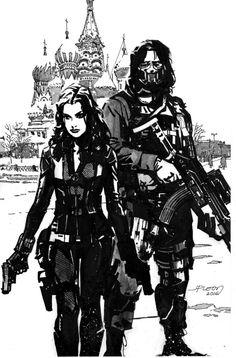 My Black Widow & Winter Soldier commission by John Paul Leon