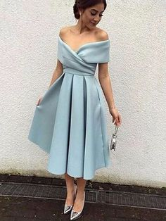 A-line Off-the-shoulder Satin with Ruffles Tea-length Vintage Prom Dresses CA$139.99