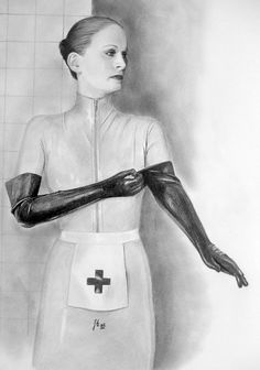 Putting on the gloves. Latex Gloves, Kinky, Medical, Drawings, Nurses, Drop, Change, Pants, Trouser Pants