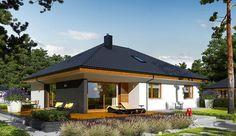 Projekt domu parterowego Astrid II G2 (mała) energo o pow. 99,44 m2 z obszernym garażem, z dachem kopertowym, z tarasem, sprawdź! Bungalow House Plans, Home Design Plans, Log Homes, Malaga, Gazebo, Living Spaces, Exterior, House Design, Outdoor Structures