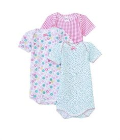 Petit Bateau Pack of 3 baby girl bodysuits with a vintage print