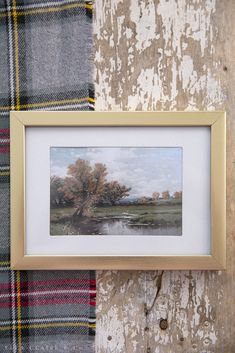 Fall Painting art for your home- A free printable vintage landscape perfect for Autumn decorating, with beautiful, deep muted tree colors and an antique countryside feel that can be printed on paper or canvas.