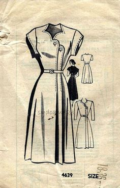 Mail Order Pattern 4639 Vintage 1940s Stair Step Buttoned Dress Sweetheart Neckline by sydcam123