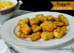 Salmon nuggets in the oven Nuggets, Tandoori Chicken, Healthy Recipes, Healthy Food, Salmon, Oven, Fish, Meat, Cooking