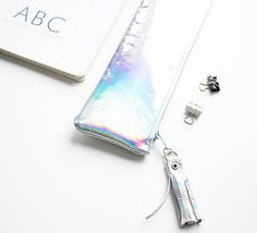 Hologram Leather Pencil Case Mirror Pen Pouch by gmaloudesigns
