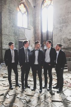 Romantic Winter Wedding | Brrr these boys look cold... but they look dapper