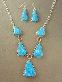 Silver Water Web Kingman Turquoise Necklace & Earring Set for $589.00 | Native American Jewelry