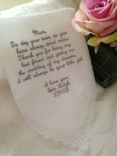 Mother of the bride personalized handkerchief by BridalEmbroidery, $20.00
