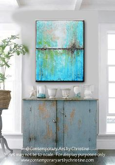 GICLEE PRINT Art Abstract Painting Aqua Blue Green White Textured Coastal Large Canvas Prints - Christine Krainock Art - Contemporary Art by Christine - 1