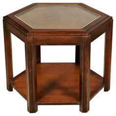 1960s Caned-Top 6-Sided Table   One Kings Lane