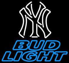 Bud Light Neon New York Yankees White MLB Neon Sign
