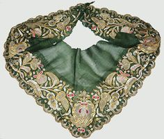 oh, so pretty! - Embroidered Green Silk Fichu  Continental, mid-18thC. Fichus, or scarves, were integral components of women's day dress in the eighteenth century. They could be triangular in shape, or square and folded into a triangle, and were worn over the shoulders covering the upper chest. They were generally made of fine white cotton or linen and often decorated with whitework embroidery. This example was clearly intended for formal wear.