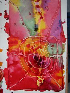 spinnenweb maken van lijm en ecoline.( ook een mooi effect als je het blad ná het drogen van de lijm éven nat maakt en dan met ecoline werkt) Glue and watercolor