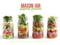 Mason Jar Layered Lunches: Mediterranean Medley, Pesto Chicken Antipasto, Cajun Shrimp, and Layered Taco! Mason Jar Lunch, Mason Jars, Mason Jar Meals, Meals In A Jar, Clean Eating Recipes, Healthy Eating, Cooking Recipes, Healthy Recipes, Jar Recipes