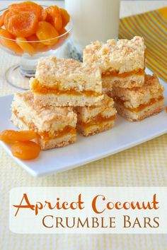Apricot Coconut Crumble Bars a scrumptious flavour combination! is part of Crumble bars - These Apricot Coconut Crumble Bars are a twist on a lemon version of the same cookie bars recipe but could easily be made with any jam filling you prefer Cookie Desserts, Just Desserts, Cookie Recipes, Delicious Desserts, Dessert Recipes, Cookie Bars, Bar Cookies, Fondue Recipes, Kabob Recipes