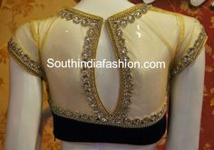 Gorgeous black velvet high neck bridal blouse with sheer net neckline and sheer back neck. It has stone work and bead work borders on the front and back. Back of the neck has key hole detail.