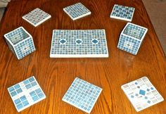 Blue and white glass tile Trivet, Votive holder and coasters gift.
