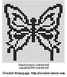 Manto butterfly chart crochet pattern Designed by Sandi Marshall
