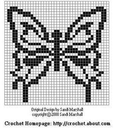 Manto butterfly chart crochet pattern Designed by Sandi Marshall