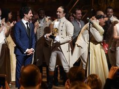 "The 58th GRAMMY Awards - Music Director Alex Lacamoire and acor, composer Lin-Manual MIranda and cast of ""Hamilton,"" celebrate after receiving a grammy for Best Musical Theatre Album ""Hamilton"" GRAMMY Performance"