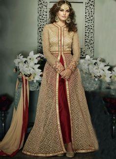 Beige Maroon Embroidery Work Net Banglori Silk Anarkali Long Fancy Suit http://www.angelnx.com/Salwar-Kameez/Anarkali-Suits