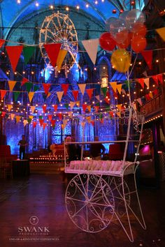 Planned, Designed & Produced by www.swankproductions.com #event #swankproductions #carnival #decor #ideas #creative #inspiration #social #event #barmitzvah #balloons #flags #lights #colorful #venue #amazing