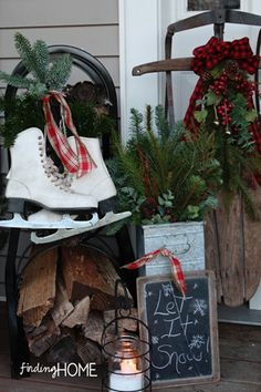 We've got the ice skates and the wooden sledge - might try to recreate something like this for the front of our house this year