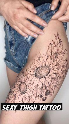 Side Thigh Tattoos Women, Thigh Piece Tattoos, Floral Thigh Tattoos, Shoulder Tattoos For Women, Body Art Tattoos, Sleeve Tattoos, Side Of Thigh Tattoo, Flower Tattoo Sleeves, Flower Side Tattoos Women