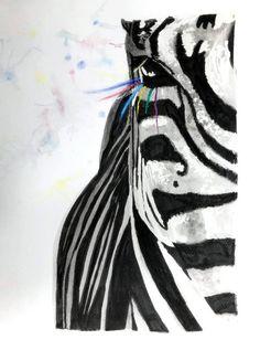 Zebra z charakterem - IsolaBellaCeramika - Obrazy akwarele Animals, Etsy, Animales, Animaux, Animal, Animais