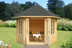 Willow Prefab Wooden Pavilion Kit For Sale From bzbcabinsandoutdo. All of these pavilion k Corner Log Cabins, Garden Log Cabins, Wooden Pavilion, Backyard Pavilion, Diy Gazebo, Garden Gazebo, Garden Sheds, Gazebo Ideas, Fence Ideas